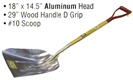 "18"" x 14.5"" Aluminum Head • 29"" Wood Handle D Grip  • #10 Scoop"