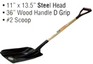 "9.5"" x 11"" Steel Head • 48"" Long Wood Handle • Square Point  Shovel"