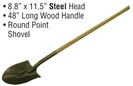 "8.8"" x 11.5"" Steel Head 48"" Long Wood Handle Shovel"